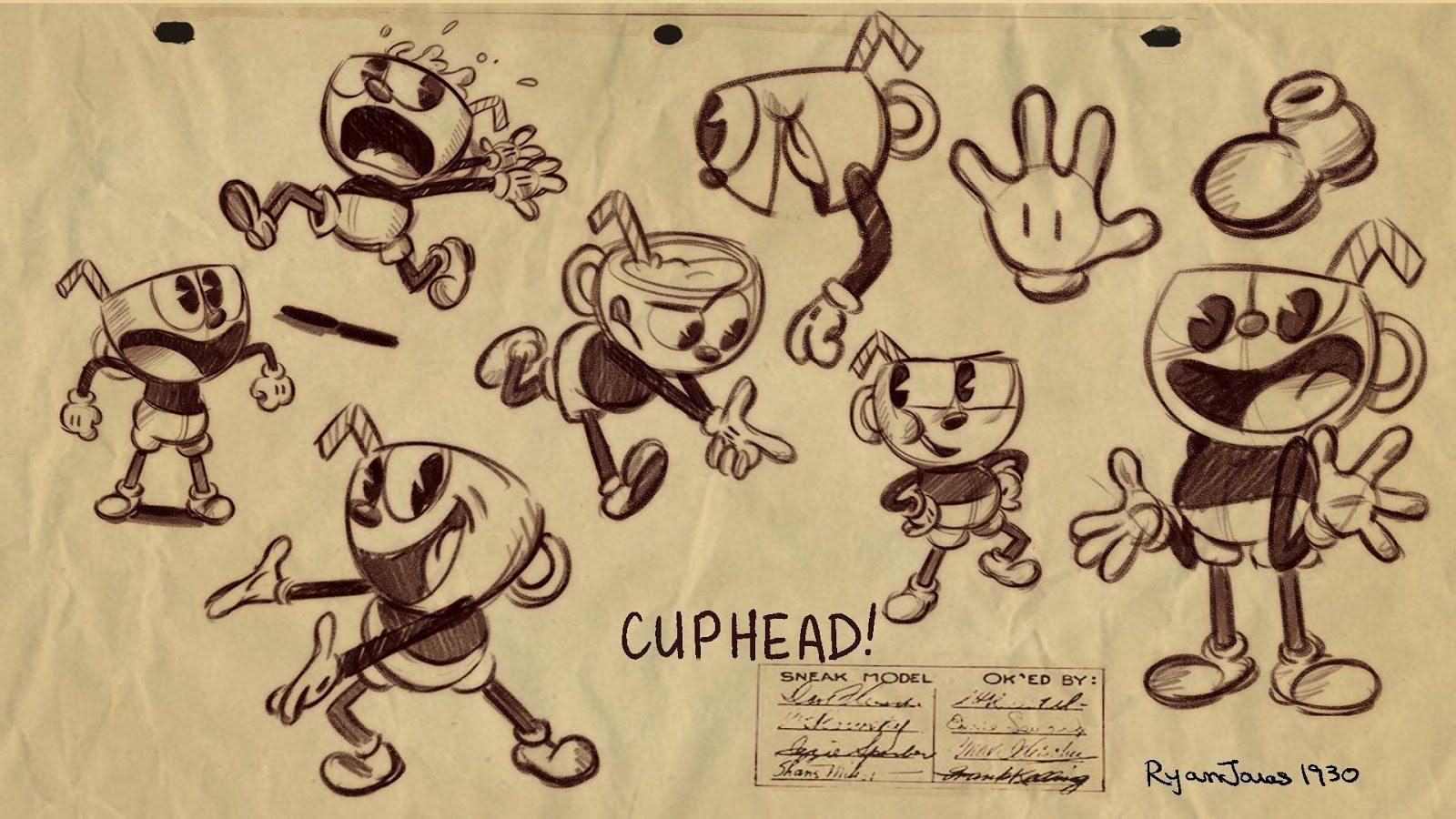 El arte de Cuphead Concept Art,trailer gameplay, Making of, entrevistas, animation process, charlas, storyboard, matte painting, y diseños originales