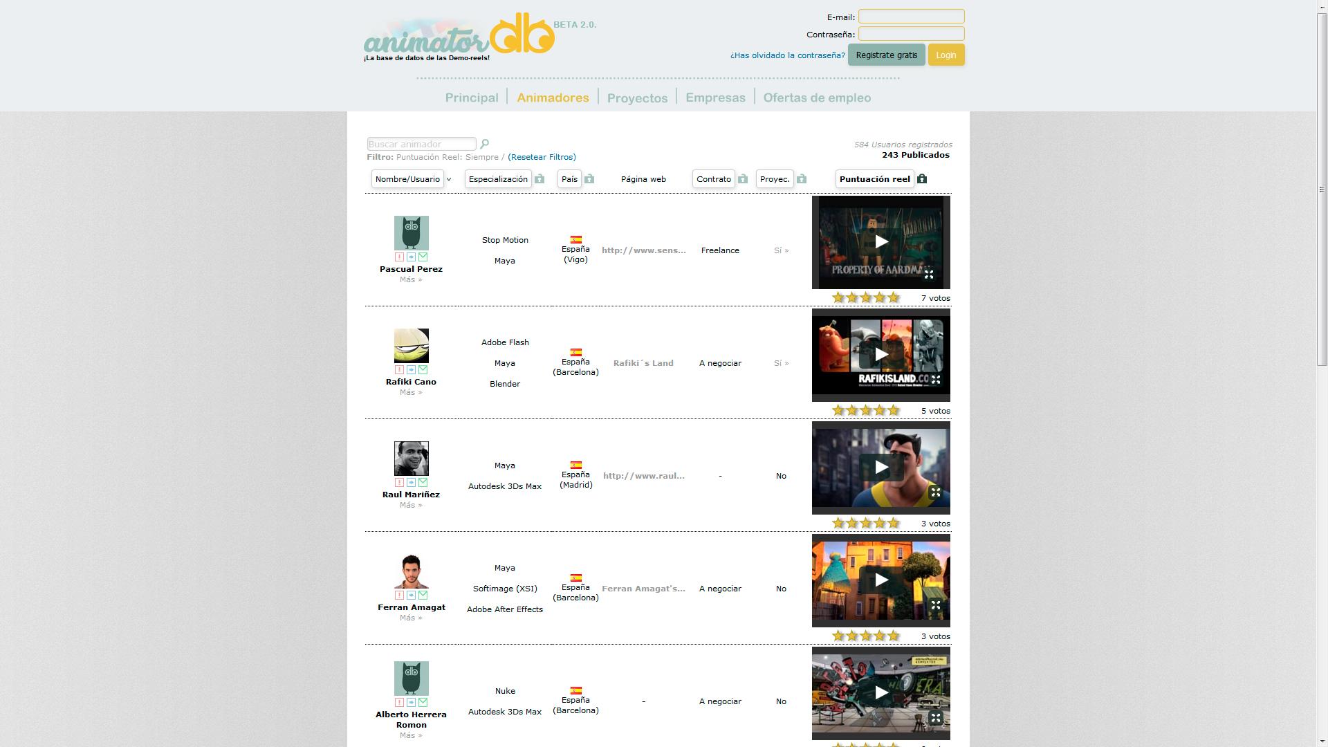 Animatordb base de datos animadores