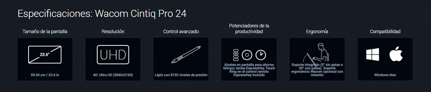 wacom cintiq pro 24 especificaciones