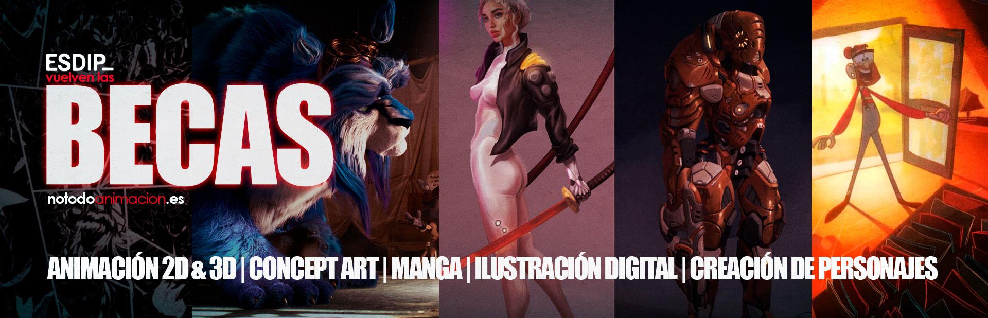 Consigue una BECA parcial para estudiar Animación 2d & 3d, Creación de personajes y color digital, Concept art para videojuegos, Ilustración y Manga